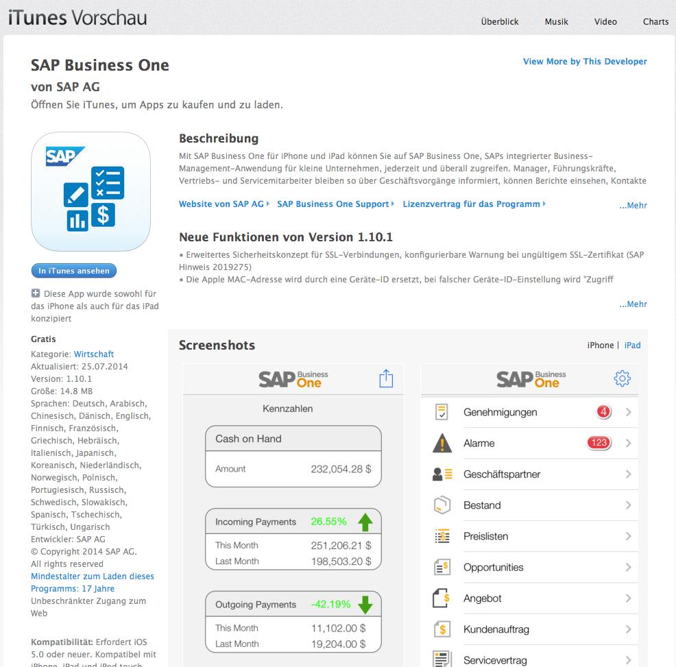 Business-Apps von SAP im App-Store von Apple: Entsprechende Angebote soll es künftig auch von IBM in Zusammenarbeit mit Apple geben.