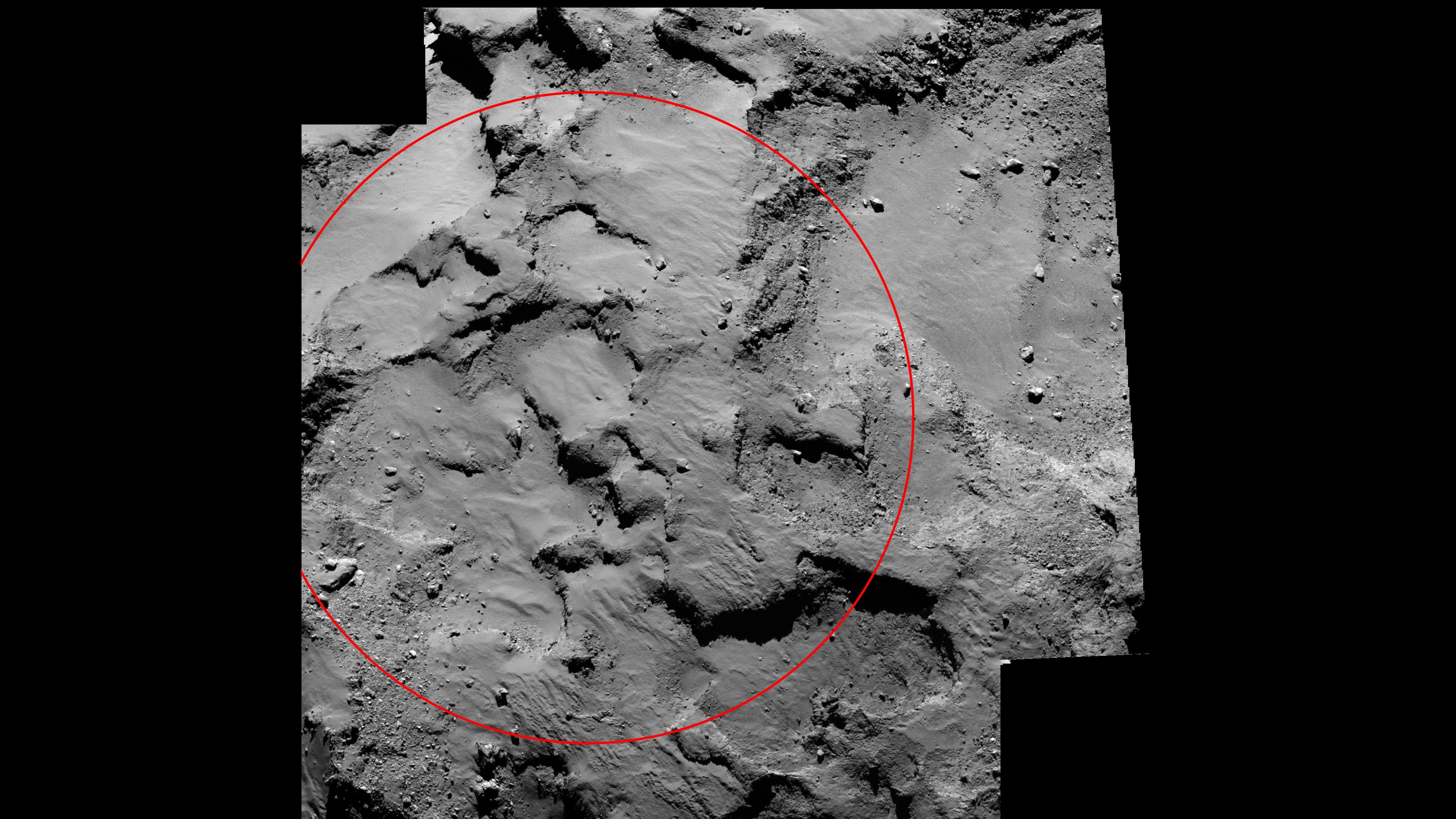 An dieser Agilika genannten Stelle auf dem Kometen Tschuri soll Philae morgen landen.