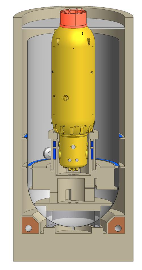 Schematische Darstellung des Reaktorbehälters innerhalb des AVR-Reaktorgebäudes vor dem Ausheben des Behälters: Der Behälter ist 26 Meter hoch, hat einen Durchmesser von 7,6 Meter und nach seiner Verfüllung mit Porenleichtbeton eine Masse von 2100 Tonnen.