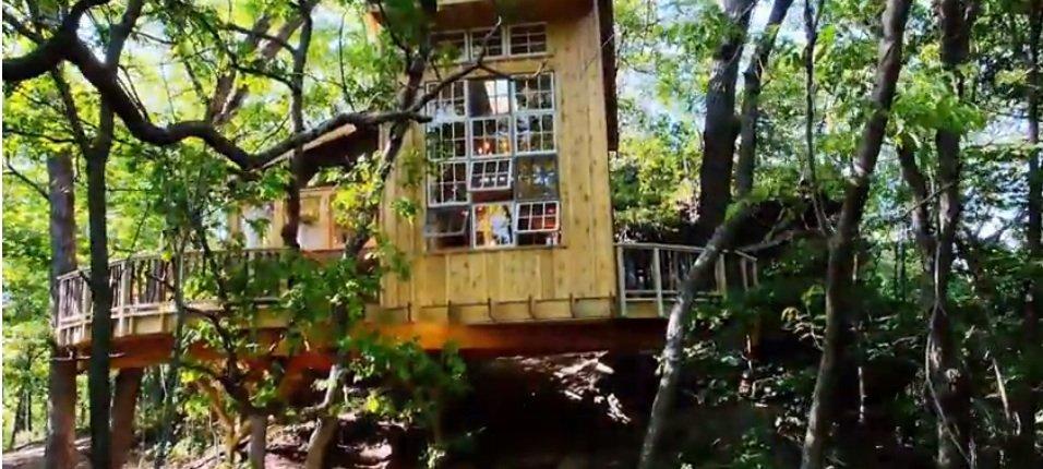 Viel Licht im Innern: Bei diesem Baumhaus fallen die vielen Fenster auf.