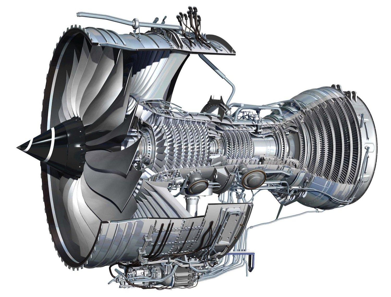 Funktionskizze des Triebwerks Trent 1000 von Rolls-Royce.