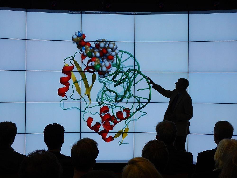 Die Displaywand Hornet kann auch komplexe wissenschaftliche Darstellungen abbilden und lässt sich auch zur Steuerung von Prozessen in der Produktion einsetzen.