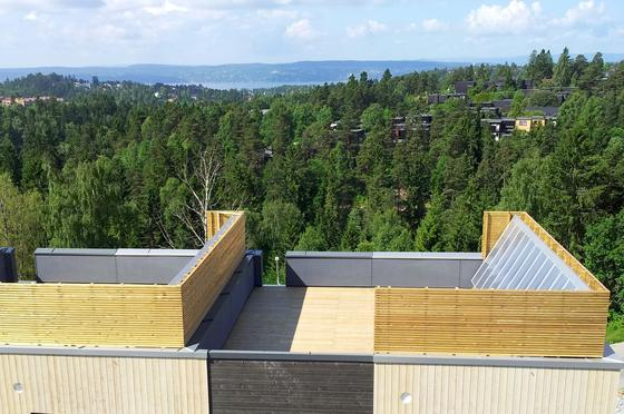 Die Solarmodule mit Kunststoffoberfläche lassen sich geschickt in die Dachterrassen der Musterhäuser integrieren.