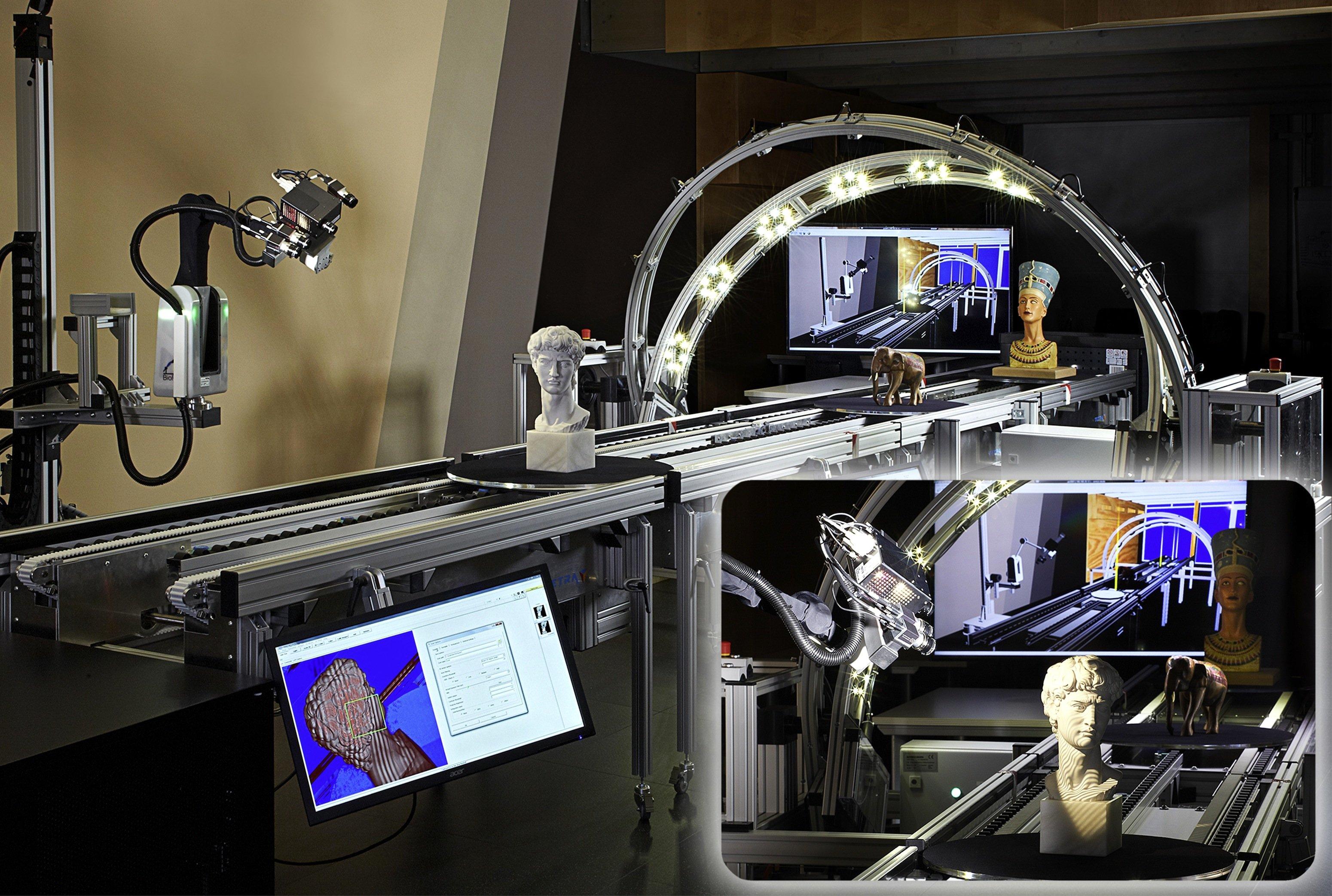 Der 3D-Scanner CultLab3D des Fraunhofer IGD Darmstadt kann Kulturgüter in Sekundenschnelle einscannen und damit für die Nachwelt erhalten.