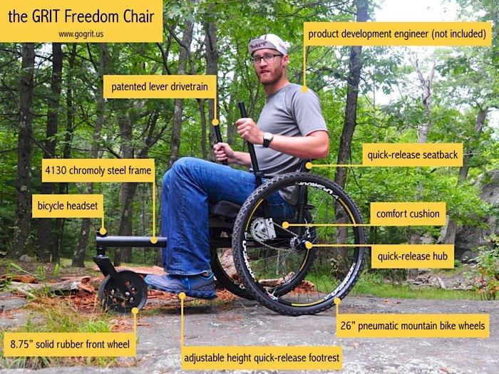 Beim GRIT Freedom Chair stammen alle beweglichen Teile aus Serienproduktionen von Fahrrädern oder konventionellen Rollstühlen.