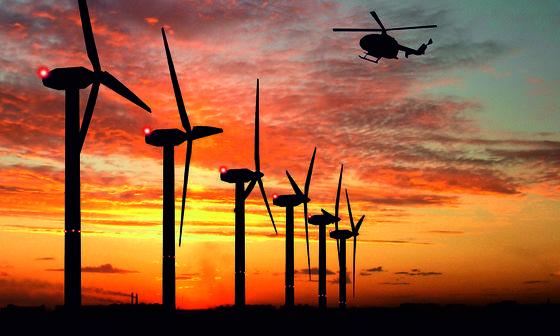 Windpark Ockholm-Langenhorn in Nordfriesland: Die Windräder sind die ersten in Deutschland, die mit einer Radaranlage ausgestattet sind, die Flugzeuge, Hubschrauber und gar Ballons erfasst. Die roten Warnlichter schalten sich deshalb nur ein, wenn das Radar ein Flugobjekt erfasst. Dadurch wird die nächtliche Belastung der Anwohner durch die Warnlichter erheblich reduziert.