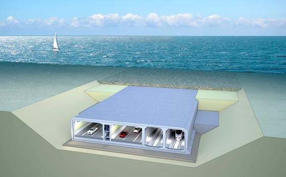Der Fehmarnbelt-Tunnel soll in einer Grube direkt auf dem Grund der Ostsee verlegt werden. Die einzelnen Elemente werden an Land vorproduziert und dann auf den Meeresgrund versenkt und verbunden.