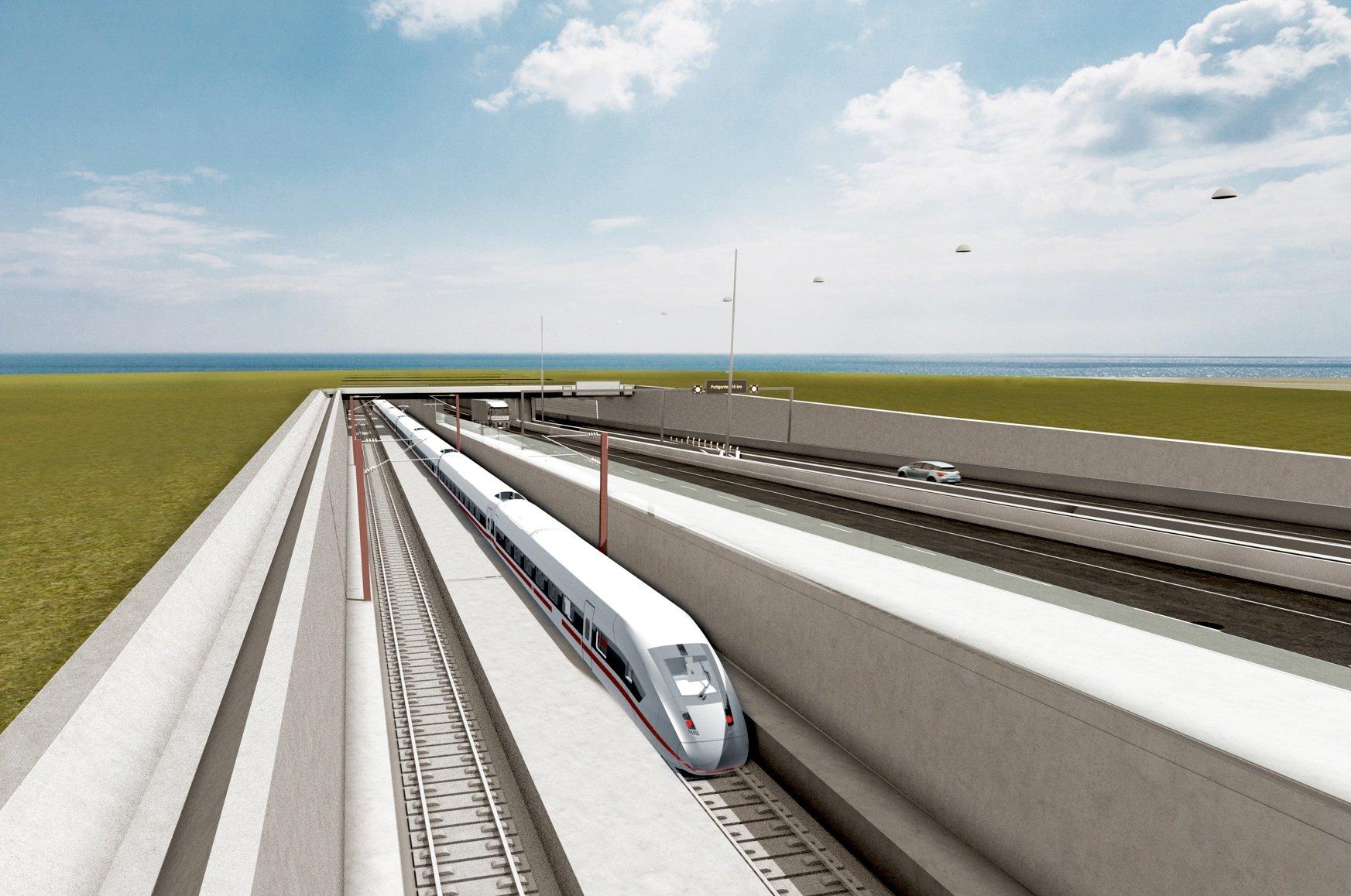 Skizze der Einfahrt in den Fehmarnbelt-Tunnel auf dänischer Seite beiRødbyhavn auf Lolland: Der 18 Kilometer lange Tunnel soll 2022 eröffnen.