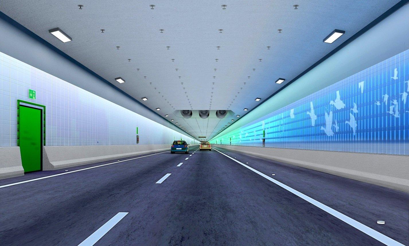 Innenansicht des Straßentunnels unter dem Fehmarnbelt