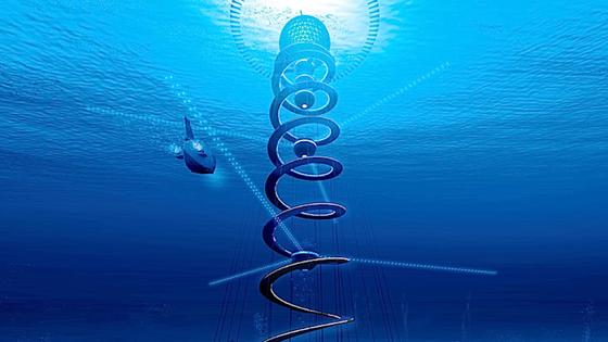 Das Projekt Ocean Spiral: Die Bewohner leben in der Kugel unter der Wasseroberfläche. Der spiralförmige Pfad schützt vor Strömungen und verbindet die Stadt mit dem Ausgrabungszentrum am Meeresboden, das Energie bereitstellt.