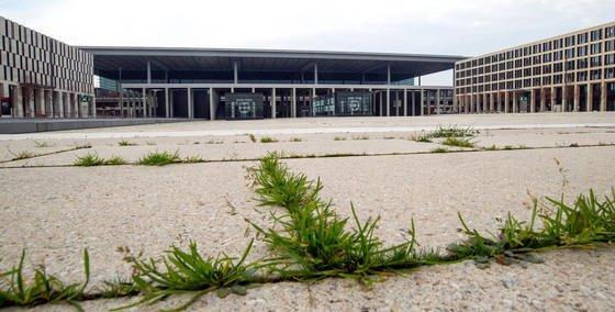 Unkraut sprießt aus den Betonfugen auf dem Willy-Brandt-Platz vor dem Terminal des BER: Der neue Hauptstadtflughafen BER wird nach einem Bericht von Bild am Sonntag frühestens Mitte 2017 eröffnen können, möglicherweise gar erst im Jahr 2018. Das berichtete das Blatt unter Berufung auf interne Planungsunterlagen.