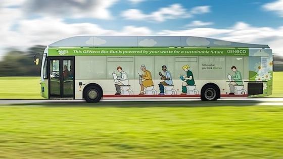 In Großbritannien unterwegs: der erste Bus, der mit Biogas aus menschlichen Exkrementen und Lebensmittelabfällen betrieben wird.