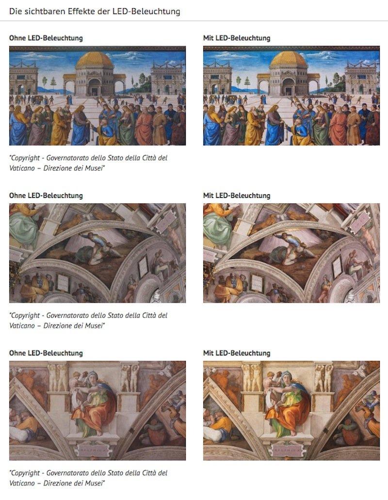 Die Details der Bilder in der Sixtinischen Kapelle sind deutlich besser zu erkennen: links die Bilder unter den bisherigen Lichtverhältnissen, rechts die Bilder ausgeleuchtet durch LED.