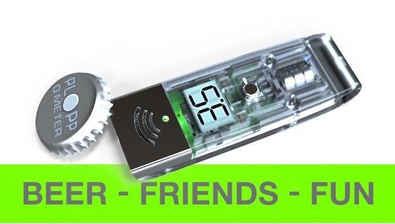Das Plopp-O-Meter:Aus einer Bierlaune heraus erfunden – und für weitere Bierlaunen gedacht. Es misst die Lautstärke beim Öffnen einer Flasche mit Kronkorken.