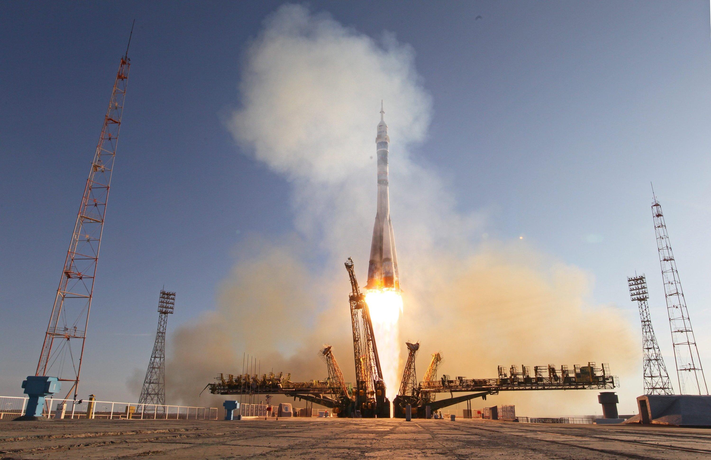 Start einer Sojus TMA-11M im November 2013 auf dem Weltraumbahnhof Baikonur: Am 28. Mai startet der deutsche Astronaut Alexander Gerst mit einer Sojus zur ISS.