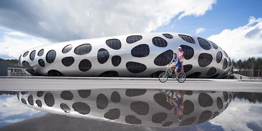 In Weißrussland steht ein Fußballstadion mit Aluminiumhaut