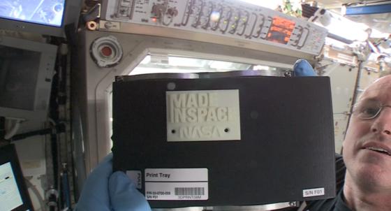 Der erste 3D-Druck der Geschichte in der Schwerelosigkeit: Am 25. November fertigte die Crew der ISS diese Platte an.
