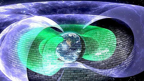 """Der Plasmaschild liegt zwischen den beiden Van Allan-Gürteln, die die Erde umhüllen. Gefährliche Elektronen prallen daran ab. """"Das erinnert an die Schutzschilde, die in der Serie Star Trek die feindlichen Waffen abprallen lassen"""", sagt Daniel Baker von der University of Colorado."""