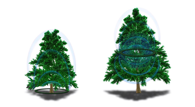 Der Powerringt versorgt die LED-Kugeln über Induktion mit Energie. Bei kleinen Bäumen liegt er auf dem Boden, bei größeren muss ihn der Anwender in den Baum hängen.
