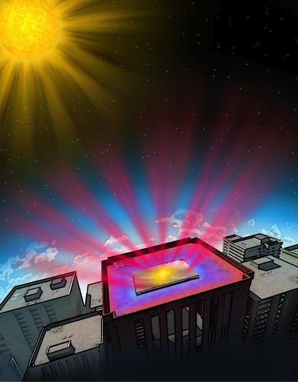 Weltall als Kühlschrank: Die Hightech-Beschichtung reflektiert nicht nur die sichtbaren Sonnenstrahlen wie ein Spiegel, sondern schickt außerdem die unsichtbare Infrarot-Strahlung direkt ins kühle All.