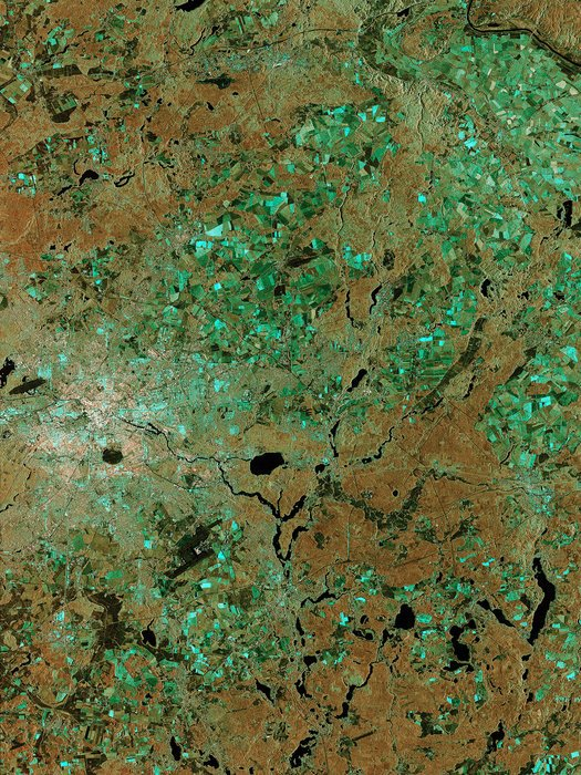 Eines der ersten Satelliten-Bilder, die von Sentinel-1A per Laser geschickt wurden, zeigt Berlin.