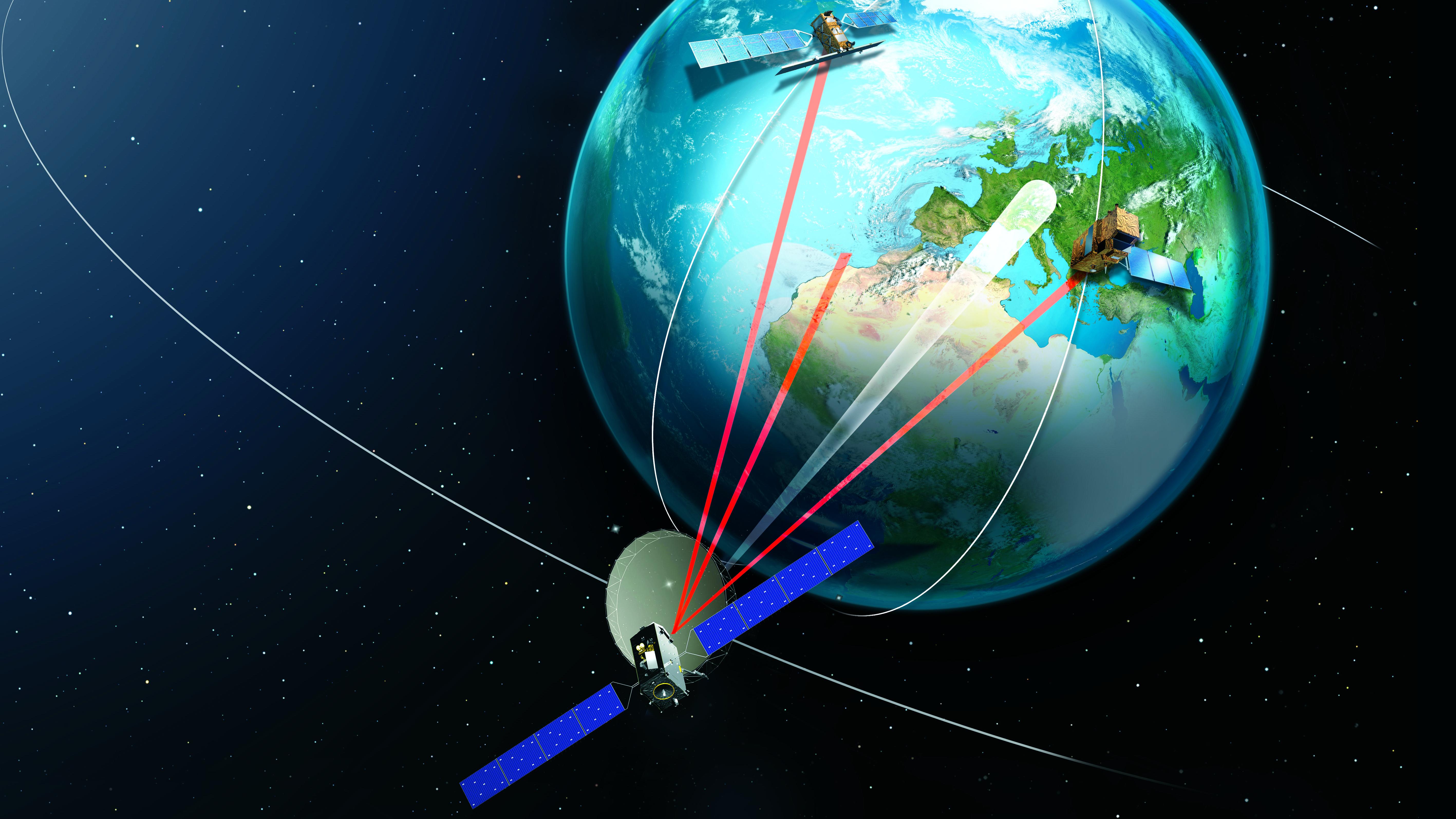 EDRS ist ein ESA-Programm für ein unabhängiges europäisches Satellitensystem. Es soll die Zeitverzögerungen bei der Übertragung großer Datenmengen deutlich reduzieren.