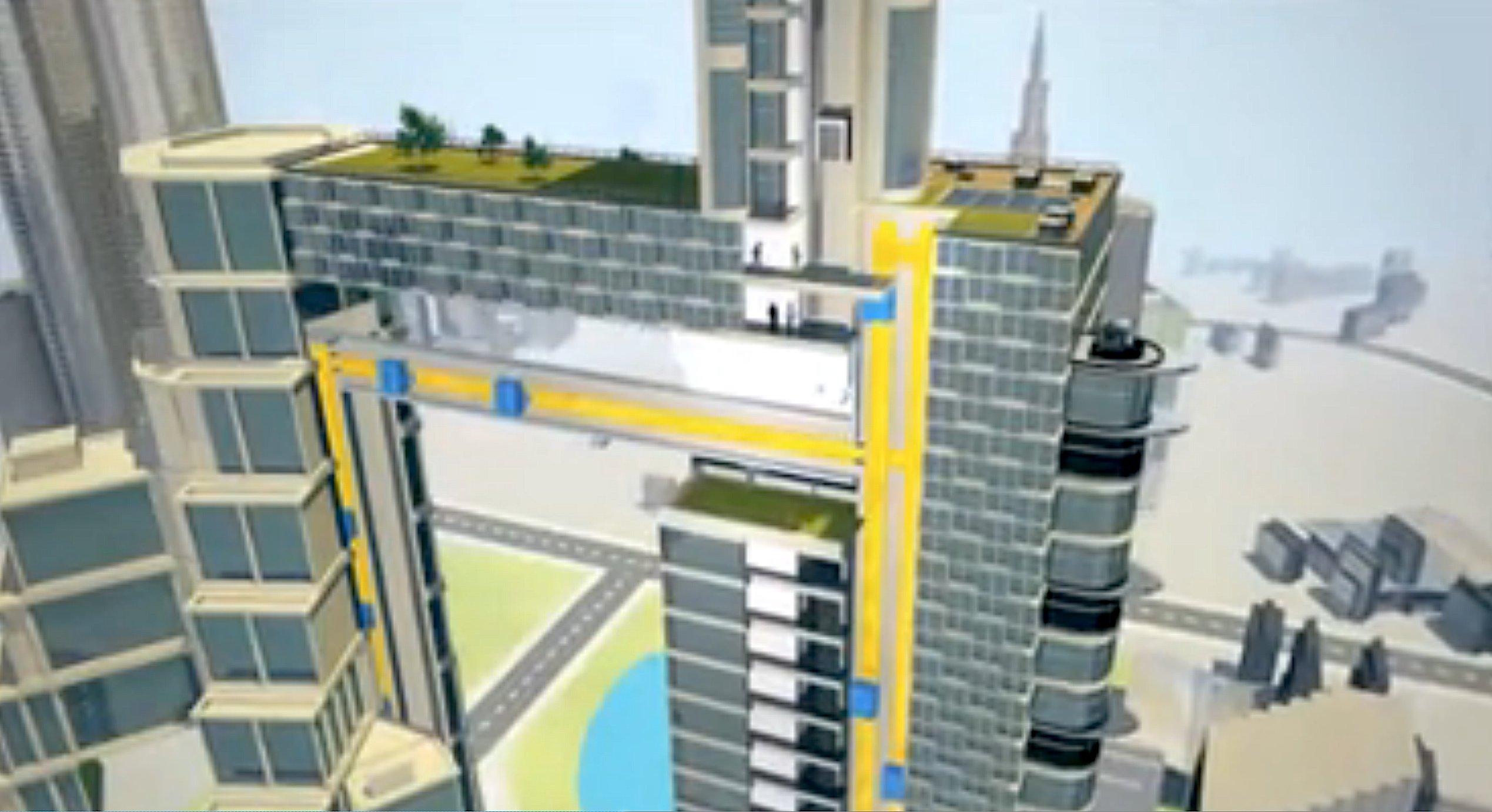 Durch den waagerecht fahrenden Aufzug von ThyssenKrupp ließen sich auch zwei Hochhäuser verbinden.