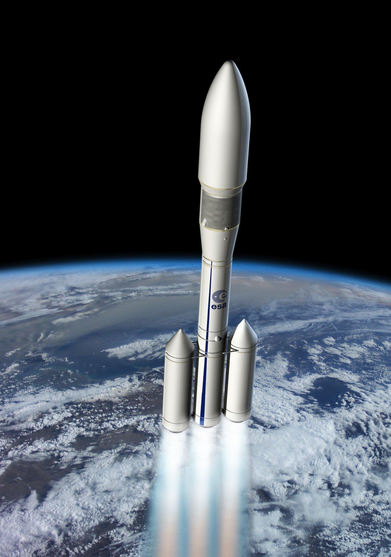 Künstlerischere Darstellung Ariane 6: Sie soll aus bereits bestehenden Komponenten zusammengesetzt werden.