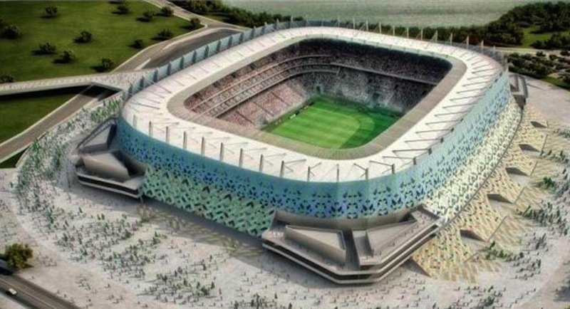 Stadion Pernambuco in Recife:Nur 0,25 Millimeter dick ist die ETFE-Folie, mit denen die Firma Vector Foiltec aus Bremen das Stadion in Recife verkleidet hat. Es kann wie die Allianz-Arena in München die Optik verändern.