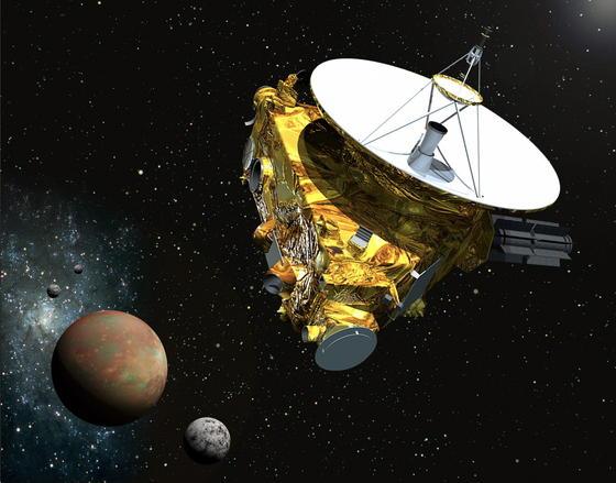 Künstlerische Darstellung: Nach fast neunjähriger Reise hat die US-Raumsonde New Horizons ihr Ziel, den Zwergplaneten Pluto,beinahe erreicht.