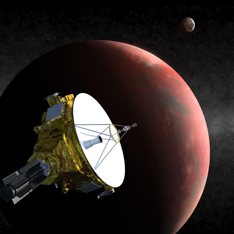 Künstlerische Darstellung: Während ihrer Reise durchs Weltall hat die Raumsonde New Horizons etwa zwei Drittel der Zeit geschlafen – nur soviel Strom gebraucht, wie zwei herkömmliche 100-Watt-Glühbirnen.