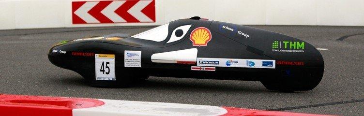 Der Wagen des Team Motor Efficiency der Technischen Hochschule Mittelhessen beim Shell Eco-Marathon.