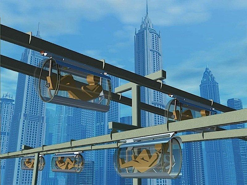 So stellt sich das kanadische Unternehmen Shweeb die Gondel-Mononrail im Stadtverkehr vor.