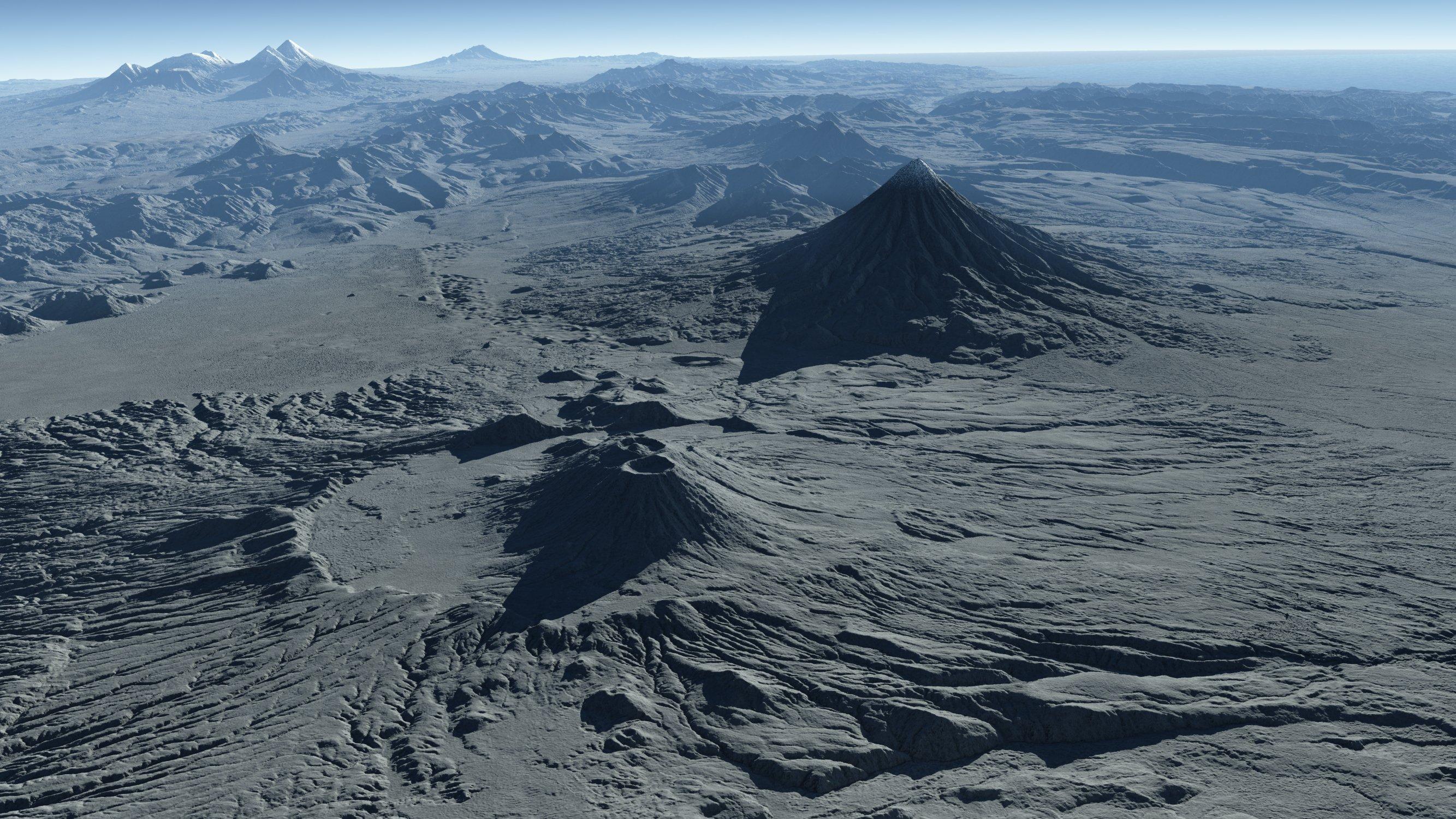 Perspektivische Ansicht der Krascheninnikov-Caldera (im Vordergrund) und des 3528 Meter hohen Kronotsky-Vulkans, der als nahezu perfekter Kegel emporragt. Links am Horizont erkennt man den Kljutschevskoi-Vulkan, mit 4835 Metern die höchste Erhebung Kamtschatkas.
