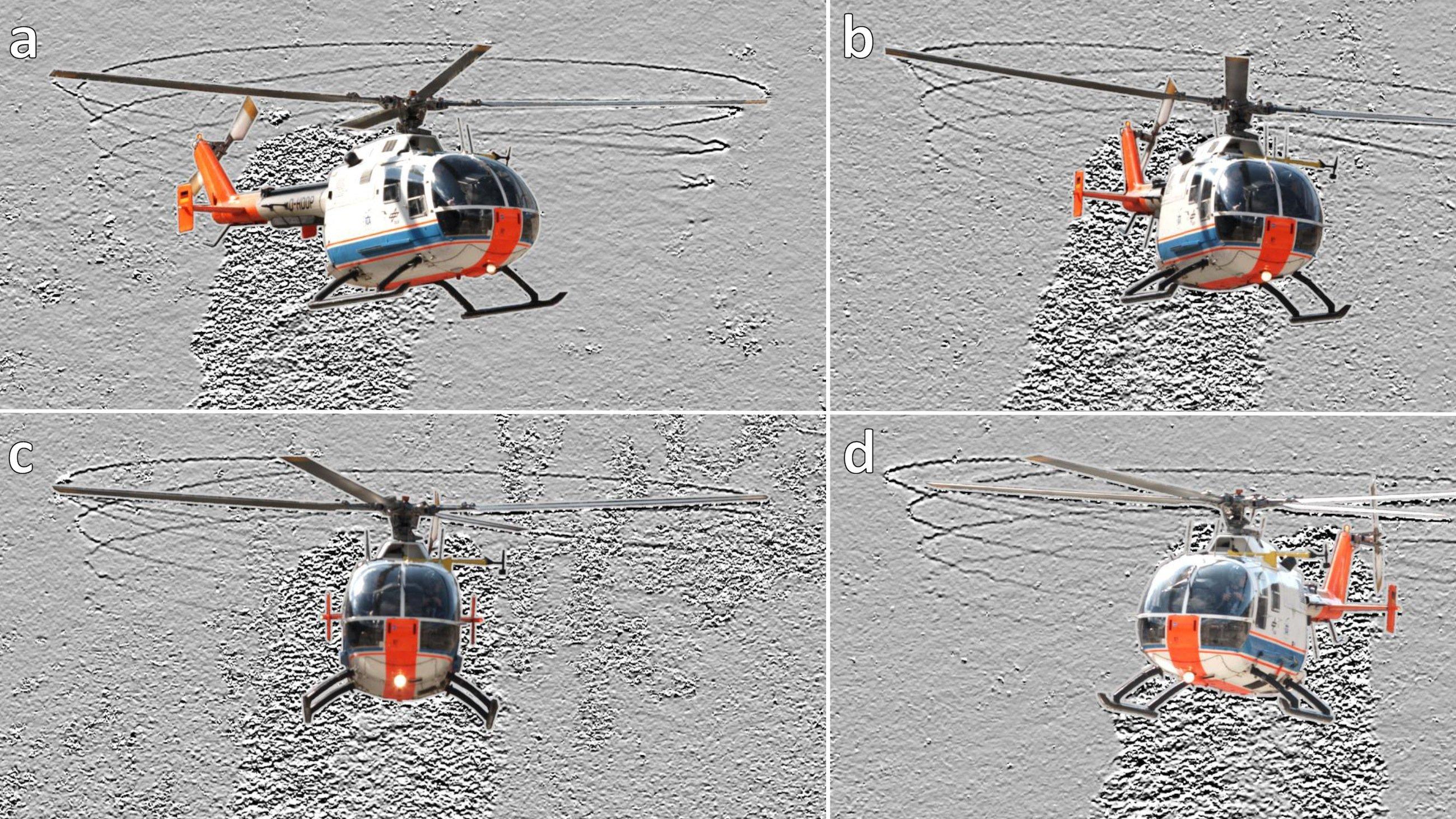 Aufnahmen eines Hubschraubers im vertikalen Steigflug: Die Wirbel sind als dunkle Linien abgebildet und maximal eine volle Umdrehung sichtbar. Außerdem sichtbar sind die Abgasstrahlen des Hubschraubers, die als verrauschte Fläche hinter dem Hubschrauber zu erkennen sind.