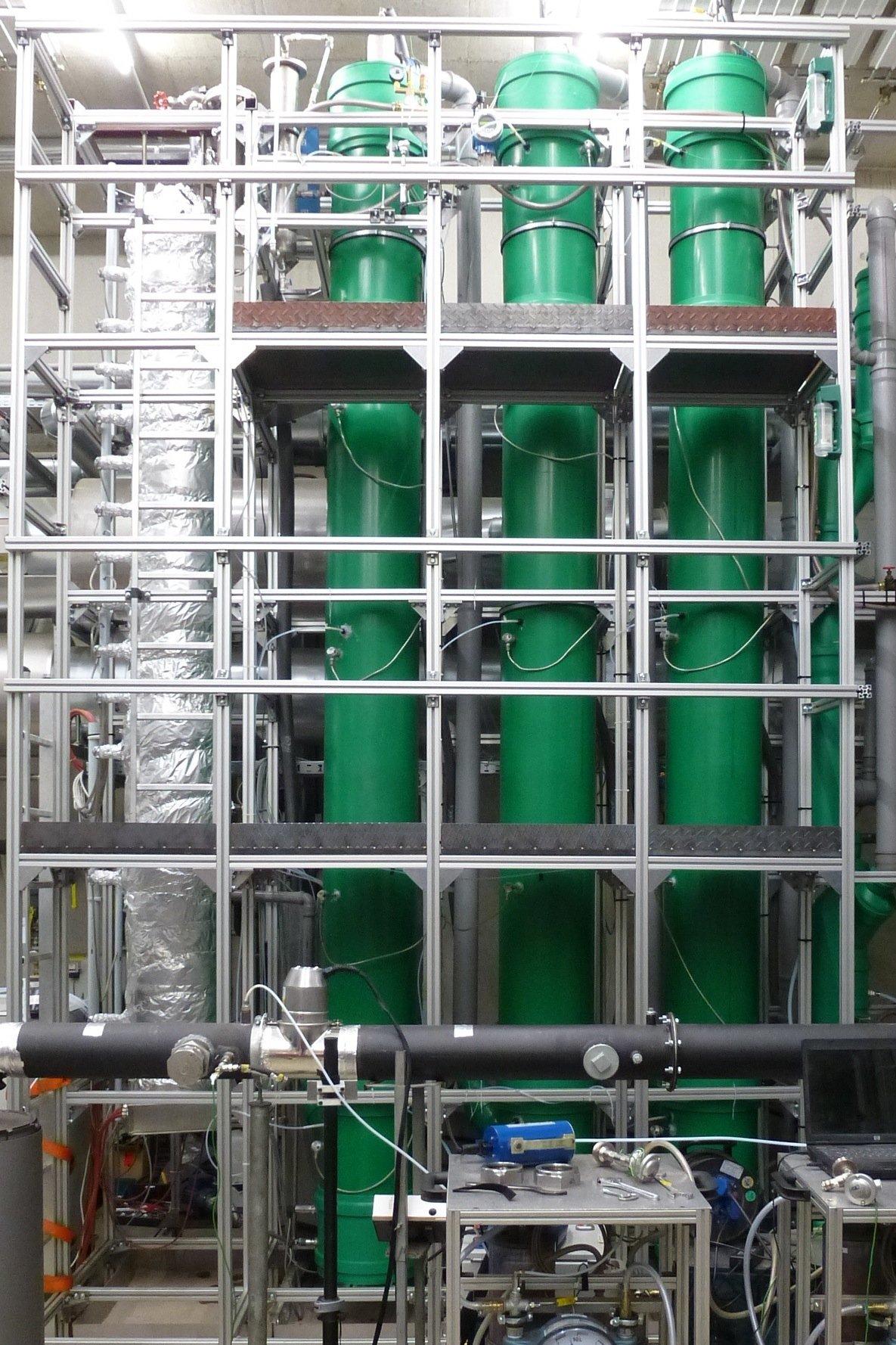 Die Versuchsanlage CASPAR ist ein dreistufiger Sprühwäscher mit je fünf Metern Sprühzone.