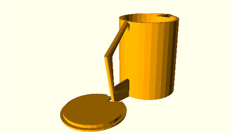 Der Kunde kann sich 3-D-Vorlagen aus einer Datenbank herunterladen, etwa für ein Wassergefäß mit Deckel. Der Drucker stellt dieses dann automatisch her.