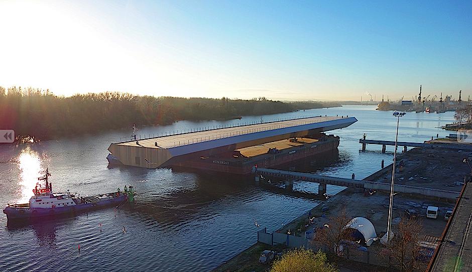 Beeindruckt war die Jury auch vom Logistikkonzept bei der Montage der Sundsvall Brücke: Es war so ausgefeilt,dass ein kompletter Brückenabschnitt von bis zu 38 Metern Breite, 6,5 Metern Höhe und einer Länge von 24 Metern pro Woche gefertigt und ausgeliefert werden konnte.