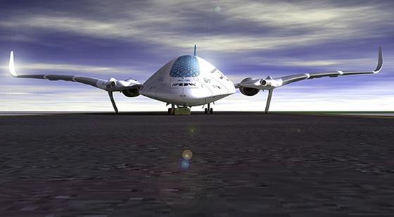 Das Konzeptflugzeug Sky Whale erinnert optisch an ein Raumschiff.
