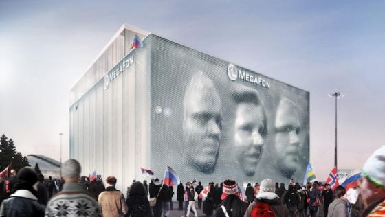 Weltweit einmalig ist die Fassade des Olympiasponsors Megafon in Sotschi. Auf ihr lassen sich riesengroße Gesichter von Besucher in 3D darstellen. Erfinder ist der Londoner Architekt Asif Khan.