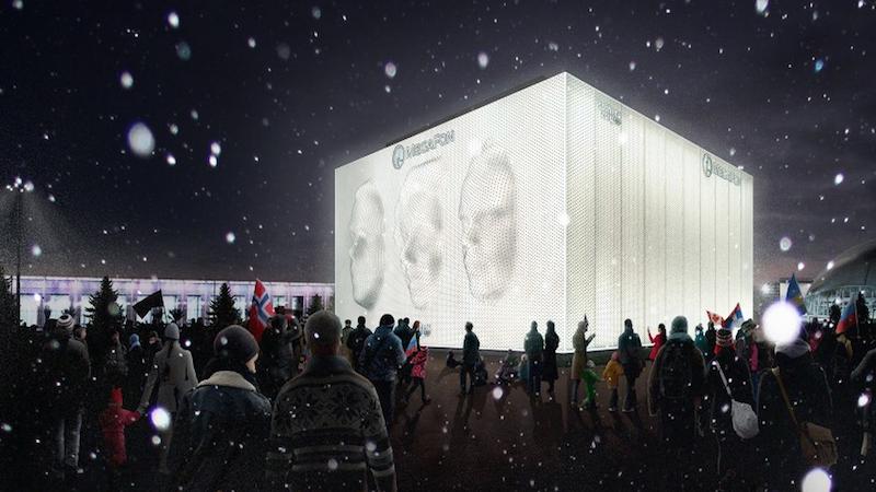 Bei Nacht wird der Pavillion von Megafon beleuchtet. Er wird auf dem Olympiagelände für futuristisch-gespenstische Atmosphäre sorgen.