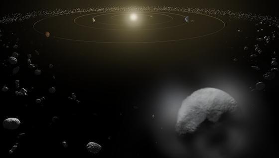 Zwergplanet Ceres bewegt sich im Asteroidengürtel unseres Sonnensystems. Sein Durchmesser beträgt 950 Kilometer. Der Wassernachweis ist der Beleg dafür, dass Ceres eine eisige Oberfläche und eine Atmosphäre hat.