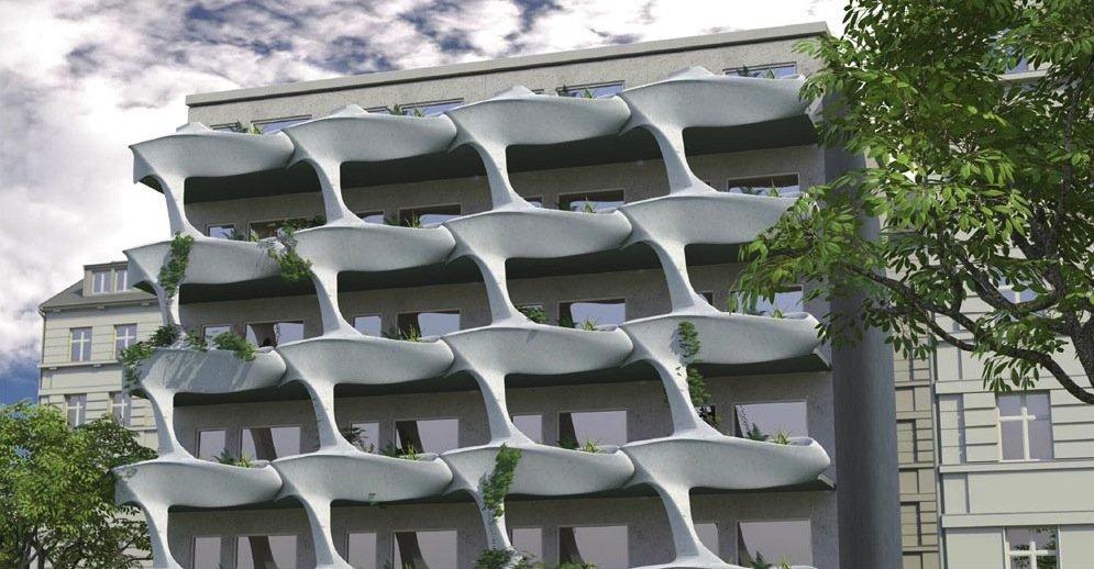 Die Leipziger Architekten Stefan Paulisch, Uta Kieffling und Pamela Voigt haben aus Karbonbeton eine Fassade mit geschwungener und bepflanzbarer Balkonen entwickelt. Für diese Idee erhielten Sie bei einem Wettbewerb des Karbon-Spezialisten SGL Carbon den 1. Preis.
