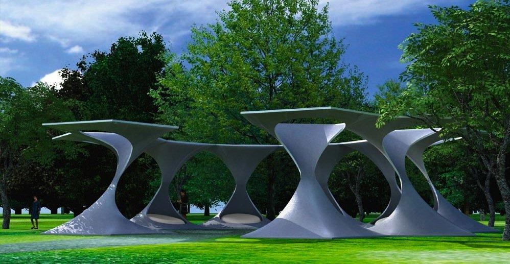 Eine Sitzlandschaft, die auch bei Regen trocken bleibt, habenPaul-Rouven Denz und Frank Bohnet aus Bad Tölz entwickelt. Die Festigkeit von Karbonbeton erlaubt es, besonders leichte Formen und Wandstärken zu wählen. Ihre Sitzlandschaft nennen die Designer Z-Shell.