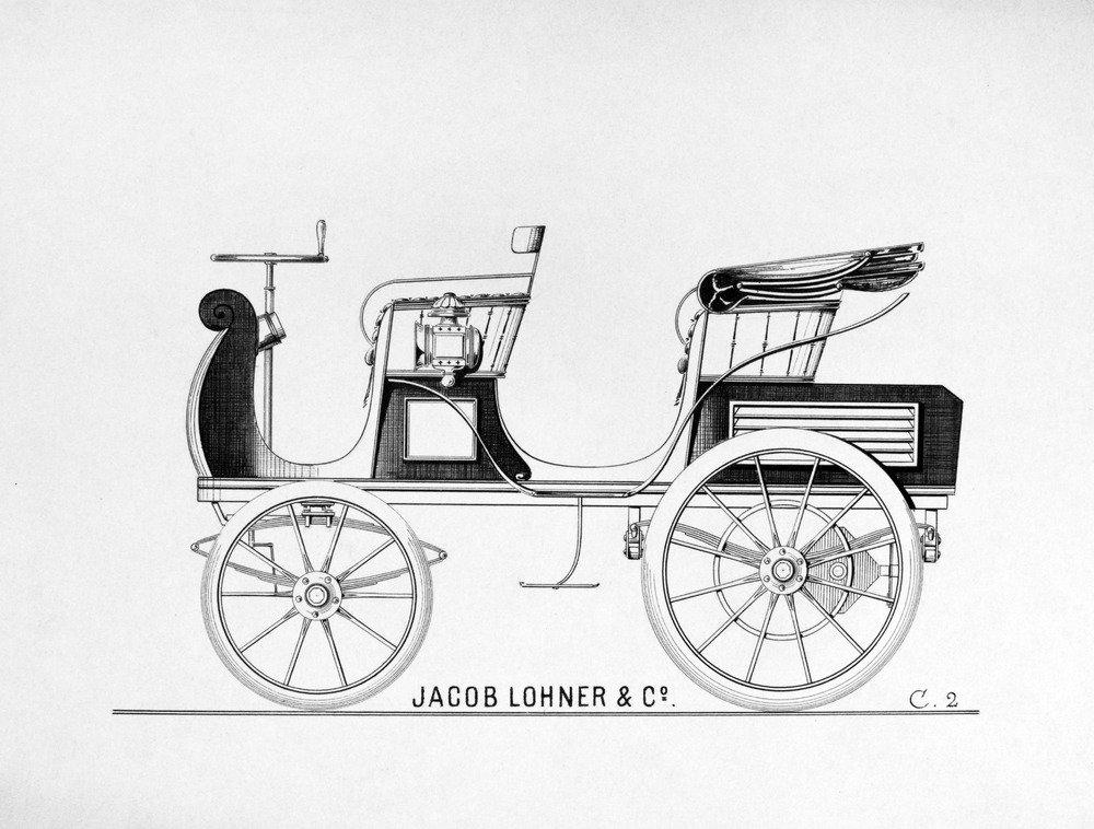 Konstruktionsskizze von Ferdinand Porsche