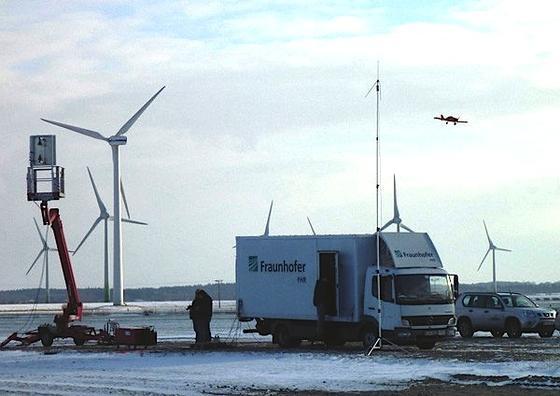 Erste Messungen von Flugzeugen im Windpark mit dem Passiv-Radar-System Parasol.