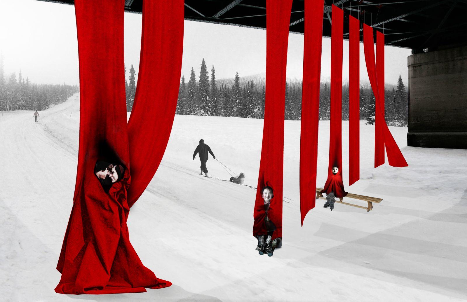 Im Wettbewerb um die besten wärmenden Ideen kamen hängende Decken auf den zweiten Platz, in die man sich einwickeln kann.