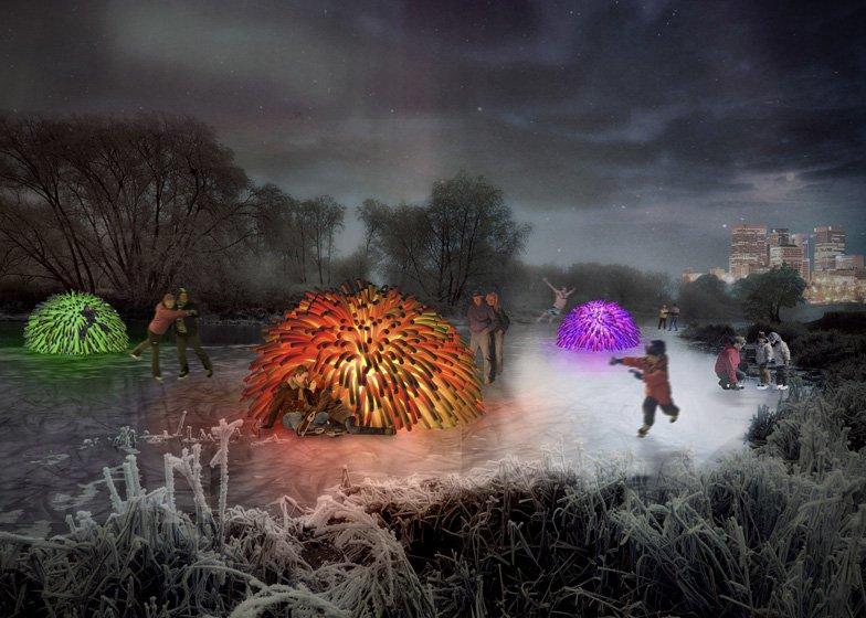 Auf dem ersten Platz des Architektenwettbewerbs von Winnipeg kamen diese Hütten in Form derKooshbälle, die nachts von innen beleuchtet sind.