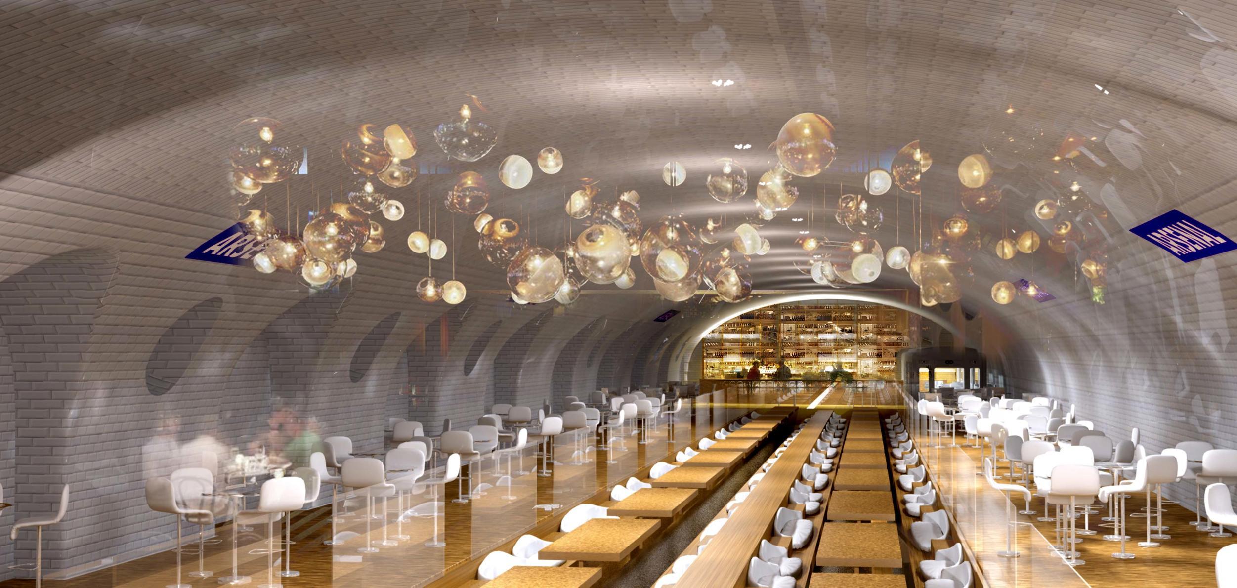 Ebenfalls im Angebot der Architekten ist die Nutzung der Bahnhöfe als Lounge und Restaurant.