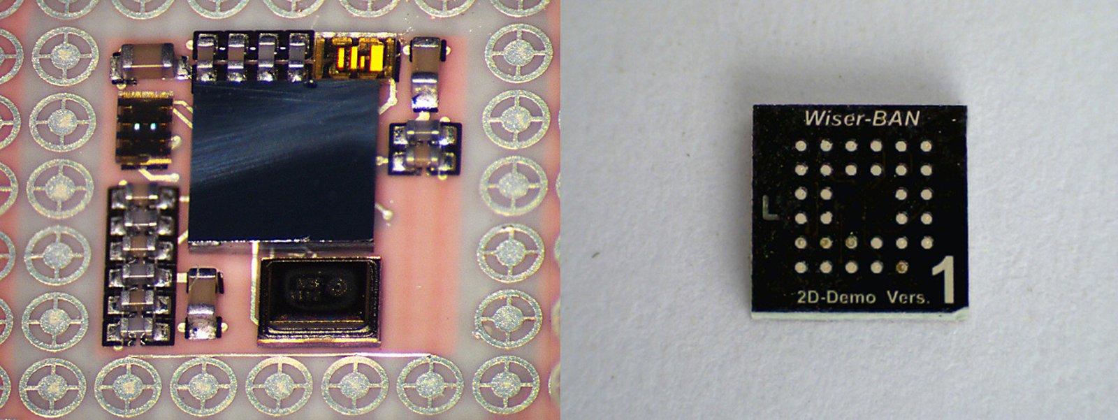 Insgesamt 19 Bauteile (li.) packen die Fraunhofer-Forscher in ihr Mikrosystem (re.). Miniatur-Antennen, integrierte Schaltkreise und Hochfrequenzfilter finden auf 4x4x1 Kubikmillimetern Platz.